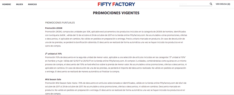 Promociones de Fifty Factory